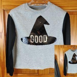 Zoe + Liv Good/Bad Reversal Sequin Witch Shirt XS